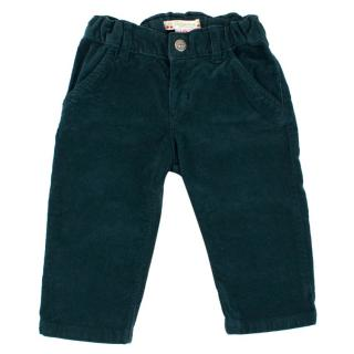Bonpoint Baby 12M Cotton Velour Dark Green Trousers