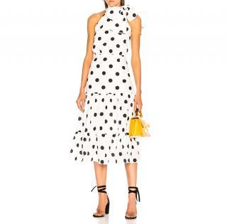 Rixo Eleanor White Maxi Polka Dot Dress