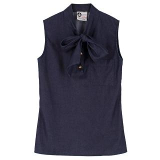 Lanvin Navy Denim Sleeveless Top