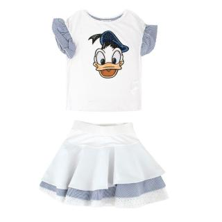 Monnalisa Girl's 6Y White Donald Duck Top and Skirt Set