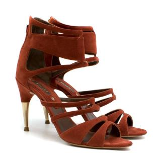 Celine Red Suede Cut-Out Heeled Sandals