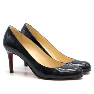 Christian Louboutin Navy Leather 85mm Simple Pumps