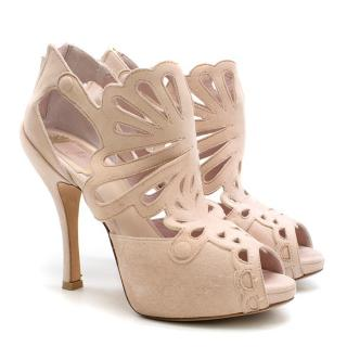 Christian Dior Pink Suede Cut-out Detailed Peep-toe Pumps