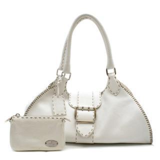 Fendi White Stitch Detail Top-handle Bag