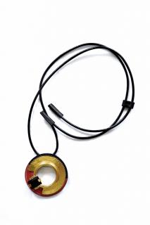 Marni leather and metal pendant necklace