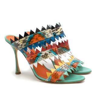 Manolo Blahnik multi coloured Arpege 105 snakeskin sandals