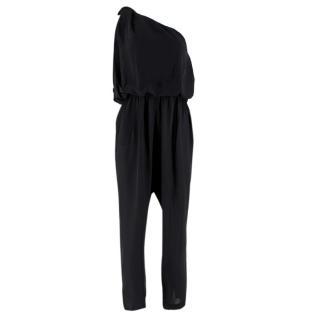 Lanvin Black Silk One-Shoulder Draped Jumpsuit