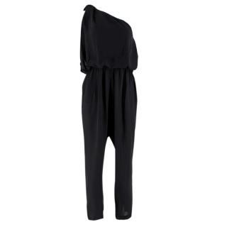 Lanvin Black Silk One-Shoulder Draped Jumpsuit