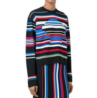 Versace striped Medusa Head motif jumper