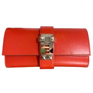 Hermes Red Medor Leather Clutch