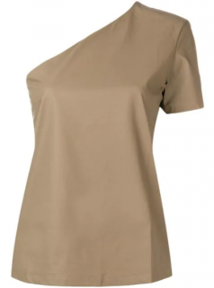 Max Mara Ovatte asymmetric one-shouldered cotton top