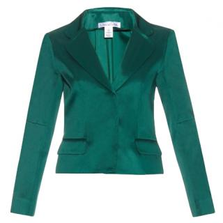 Oscar De La Renta Single-breasted satin jacket in green
