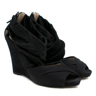 Fendi Black Cross-strapped Suede Wedges