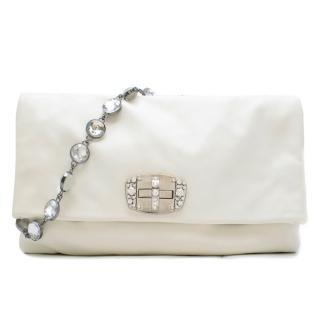 Miu Miu White Leather Crystal Foldover Shoulder Bag