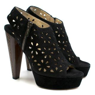 Jimmy Choo Black Suede Laser-Cut Peep-toe Heeled Sandals