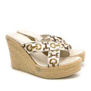 Gucci White Bamboo Link Print Espadrille Wedges