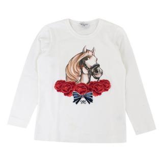 Monnalisa Girls Cotton White Long sleeve Top with Print