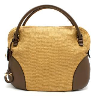 Salvatore Ferragamo Beige Woven Basket/Leather Shoulder Bag