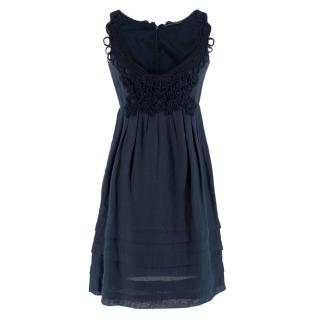 E /rmanno Scervino Cotton Navy Lace Embroidered Dress