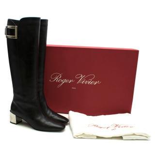 Roger Vivier Black Leather Buckle Long Heeled Boots