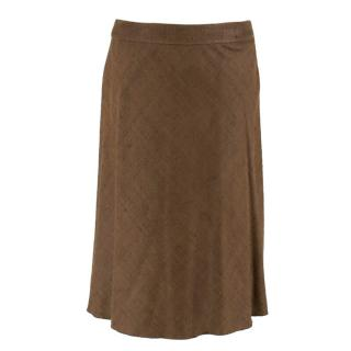 Prada Brown Silk A-line Skirt