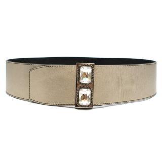 Valentino Leather Metallic Wide Crystal Embellished Belt