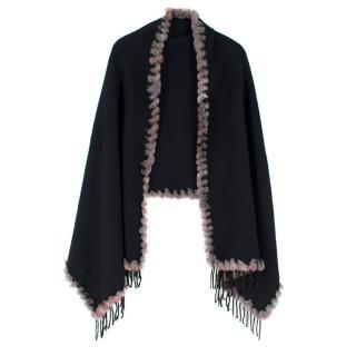 I.S Studio Black Pure Cashmere Shawl with Fur Trim