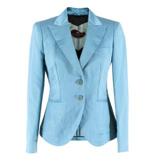 Etro Blue Silk-blend Tailored Blazer