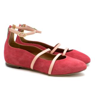 Malone Souliers Girls Pink Suede Strapped Ballerina Flats