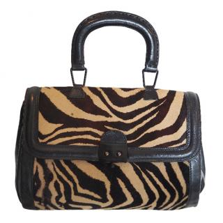 Pauric Sweeney Vintage Zebra Printed Ponyskin Top Handle Bag