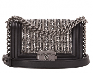Chanel Black Lambskin Glass & Pearl Embroidered Boy Bag