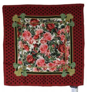 Dolce & Gabbana Rose Print Polka Dot Trim Silk Scarf