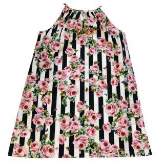 Dolce & Gabbana Girls Striped Rose Print Dress