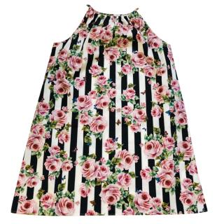 Dolce & Gabbana Girls Striped Rose Print Dress