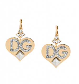 Dolce & Gabbana Crystal Heart Drop Earrings