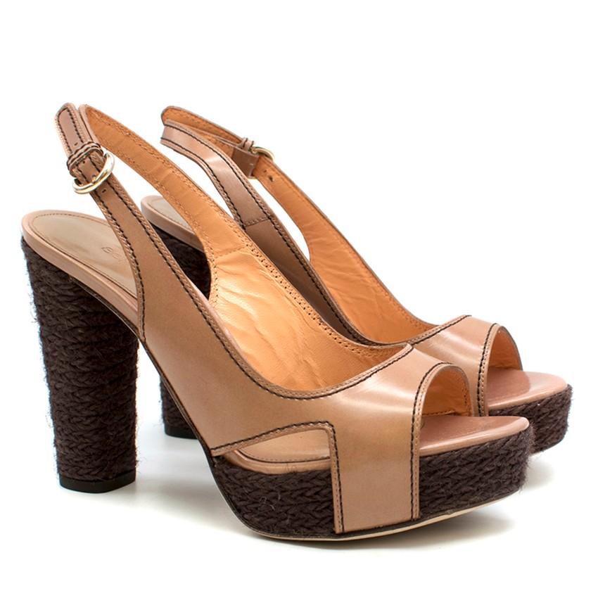 Sergio Rossi Brown Leather Espadrille Sandals