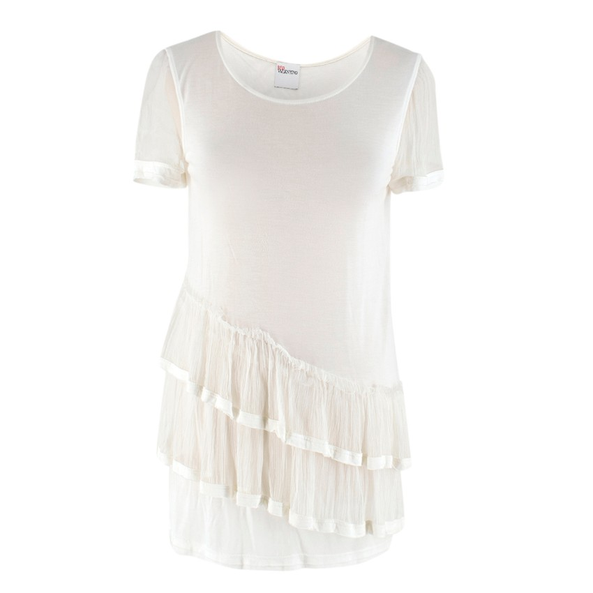 Red Valentino Silk White Tiered Long Top