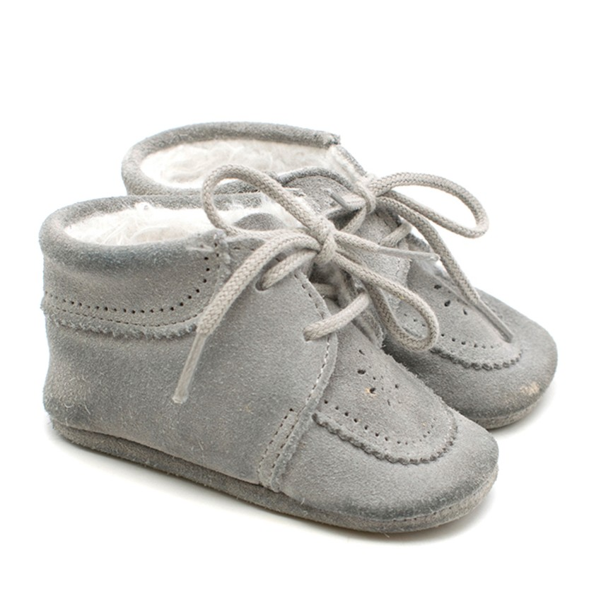 Tartine et Chocolat Baby First Steps Light Grey Nubuck Shoes