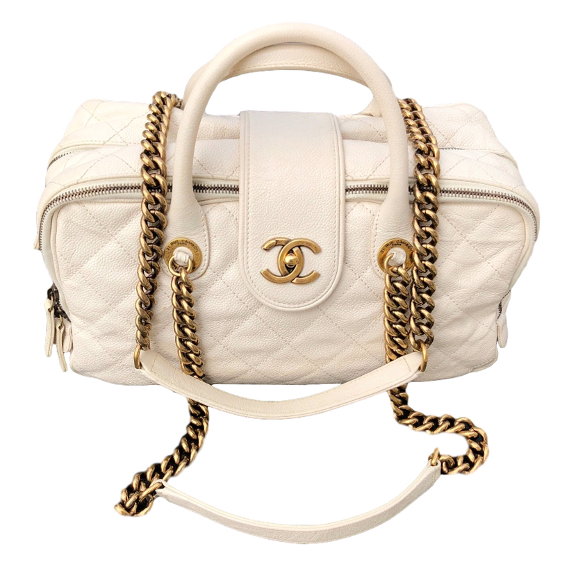 Chanel aged caviar leather shiva bowling bag