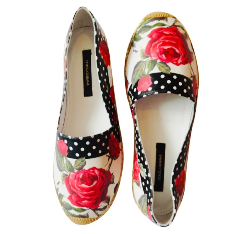 Dolce & Gabbana Polka Dot Rose Print Espadrilles