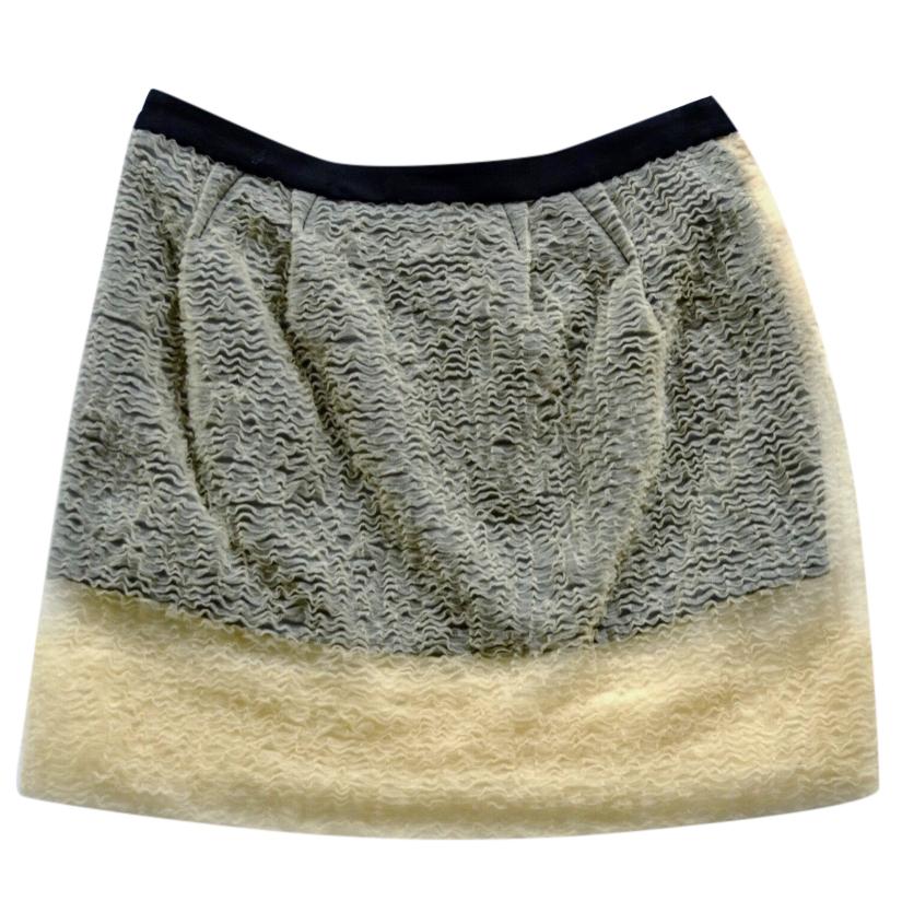Balenciaga Black Mini Skirt W/ Nude Sheer Overlay