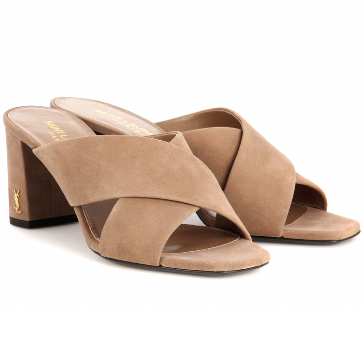 Saint Laurent Suede Lou Lou Open Sandals