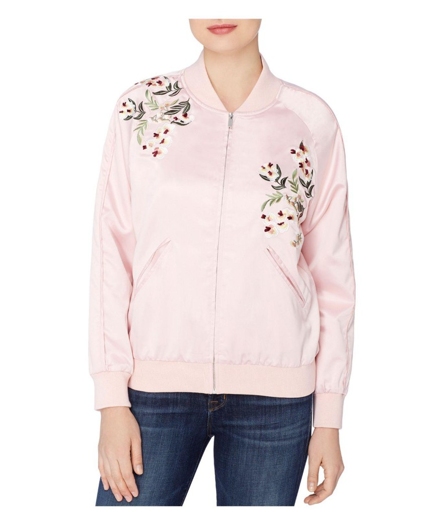 Catherine Malandrino Blush Embroidered Bomber Jacket