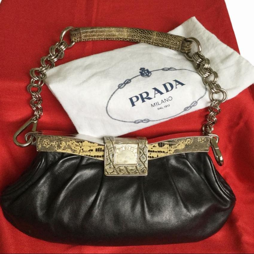 Prada Vintage Snakeskin Print Trim Shoulder Bag