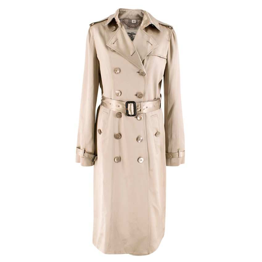 Burberry Metallic Silk Double-Breasted Wrap Trench Coat