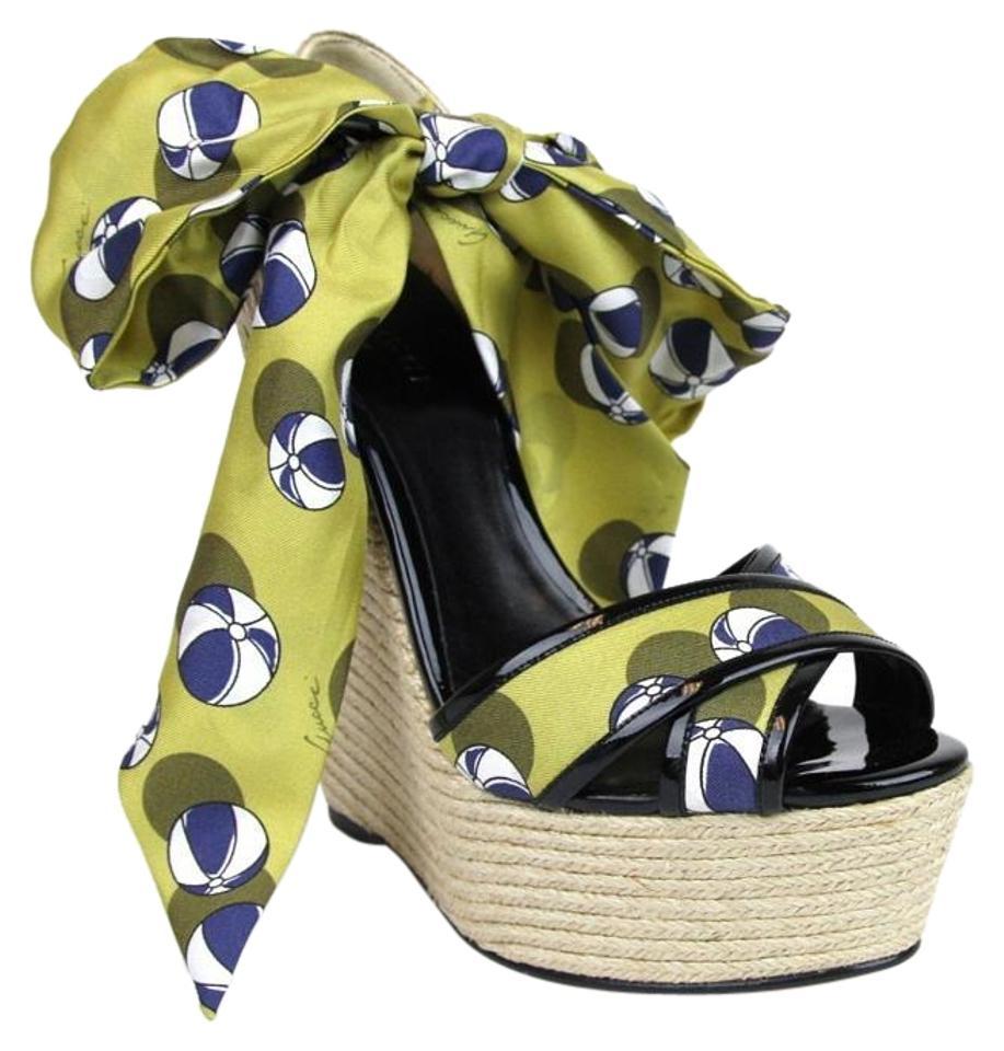 Gucci Carolina Heartbeat Beach Ball Satin Tie Wedge Sandals