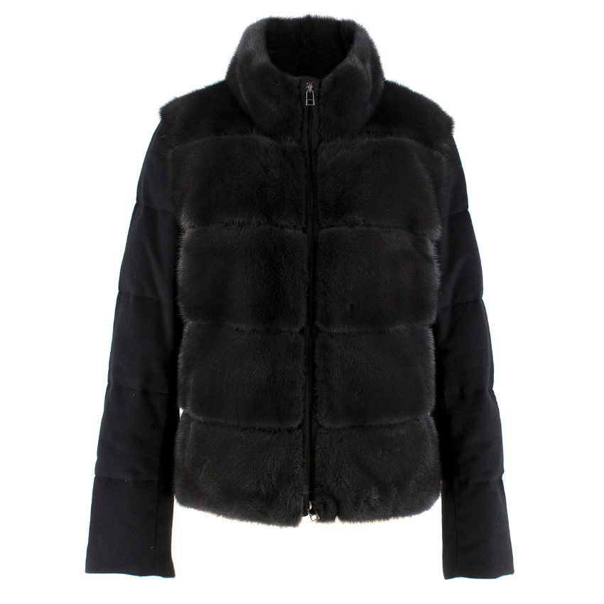 Vizelle black mink fur cashmere & wool jacket