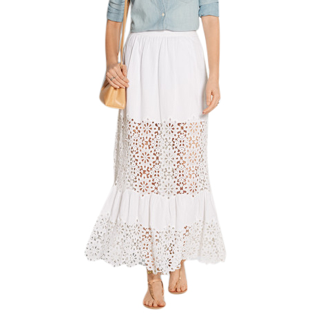 Sea cotton blend lace panelled maxi skirt