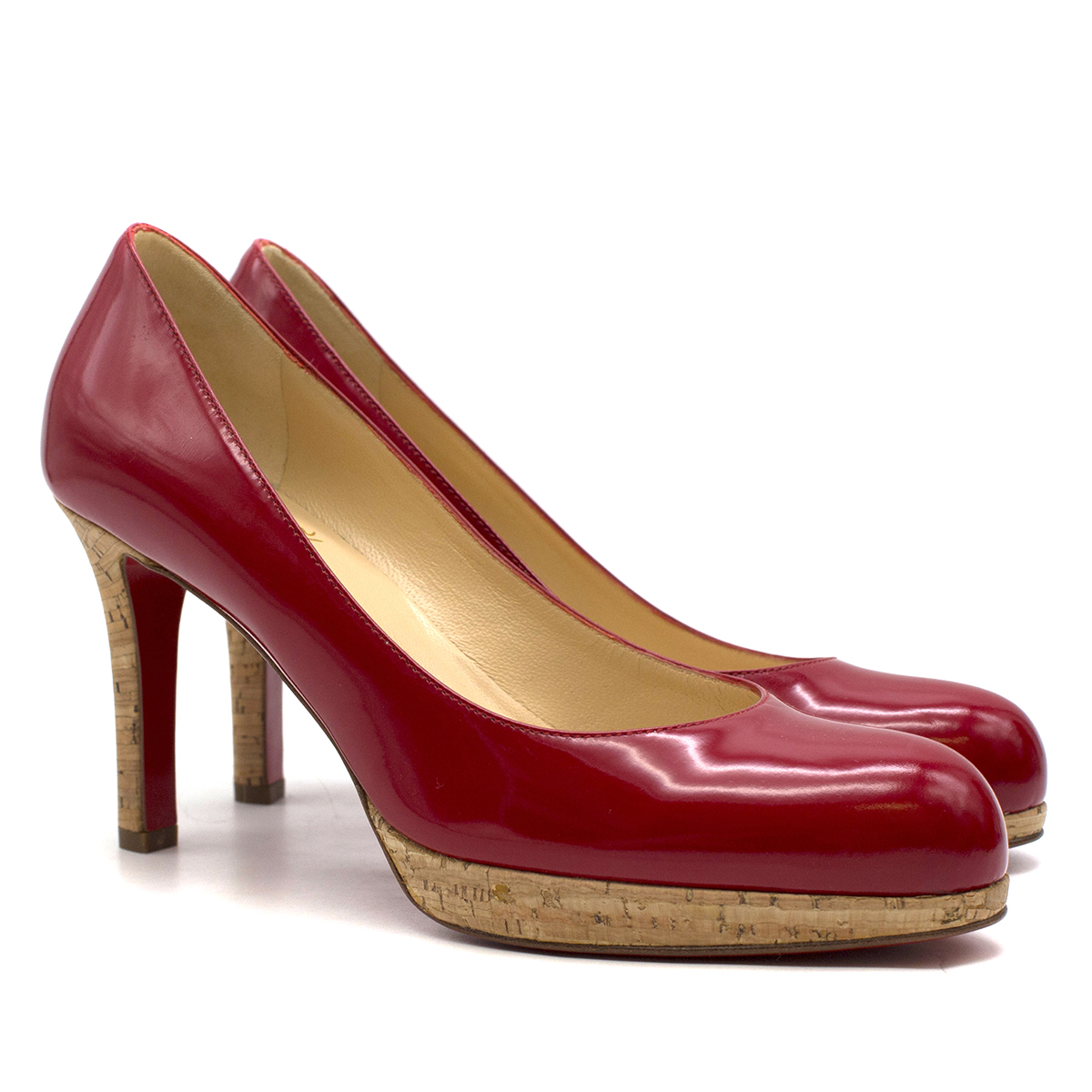 Christian Louboutin Red Patent Leather platform pumps