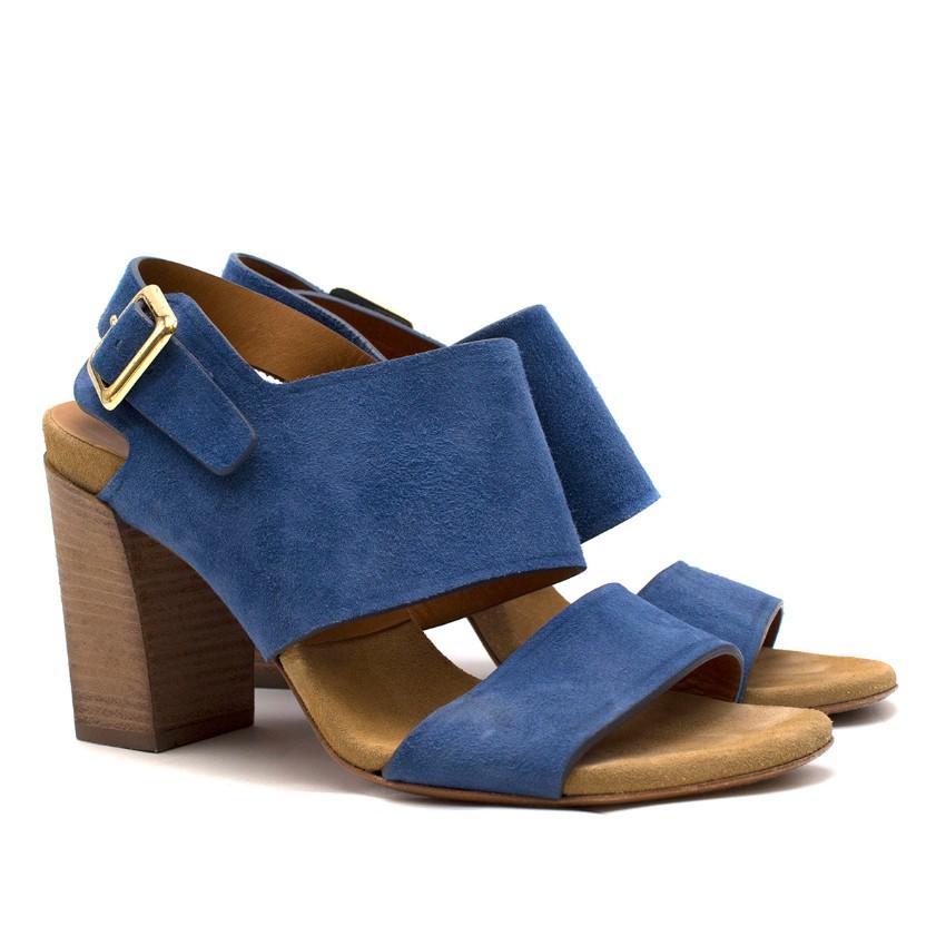 Chloe Blue Suede Block Heel Sandals
